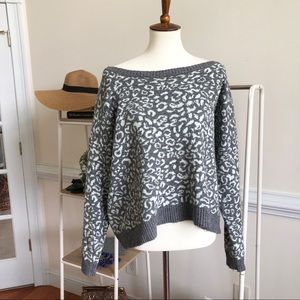 Free People oversized leopard print sweater Lg